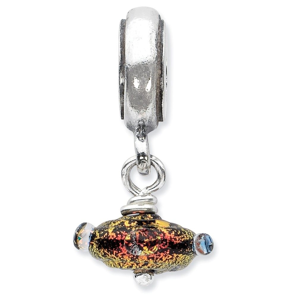 Dichroic Glass & Sterling Silver Textured Red Dangle Bead Charm