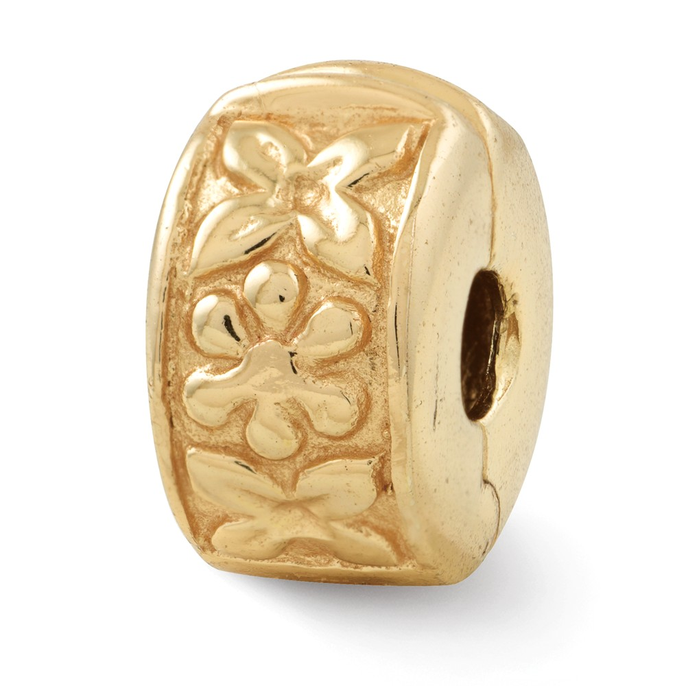 14k Yellow Gold Plated Sterling Silver Hinged Flower Clip Bead Charm
