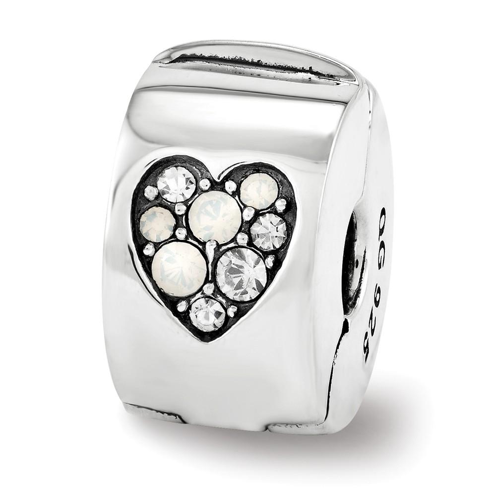 Swarovski   Crystal   Silver   Hinge   Charm   Heart   Clip   Bead