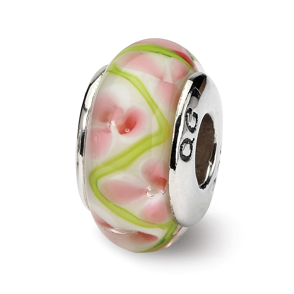 Pink & Green Floral Glass Sterling Silver Bead Charm