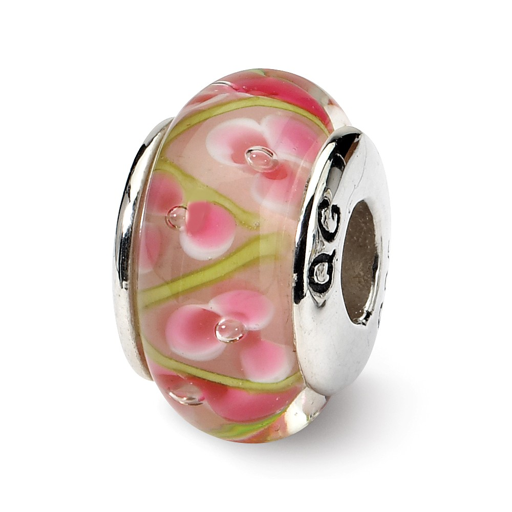 Pink / Green Floral Glass Sterling Silver Bead Charm