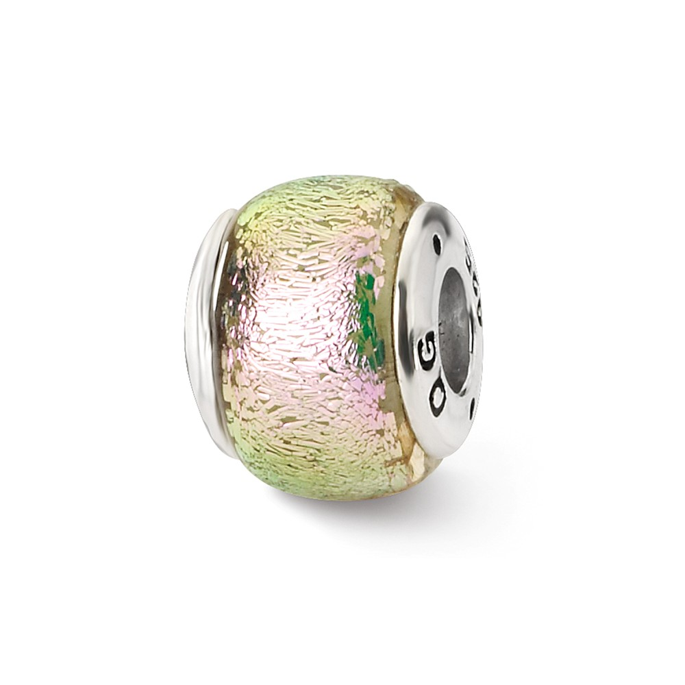 Pink Luminescent Dichroic Glass Sterling Silver Bead Charm