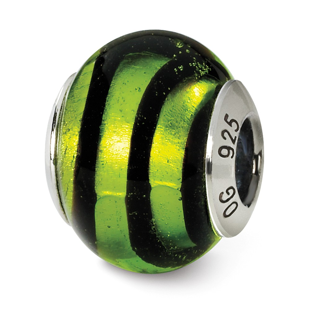 Sterling Silver, Green and Black Striped Murano Glass Charm