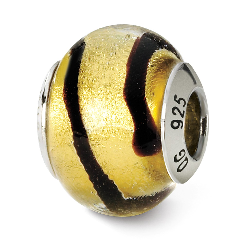 Sterling Silver, Yellow and Black Striped Murano Glass Charm