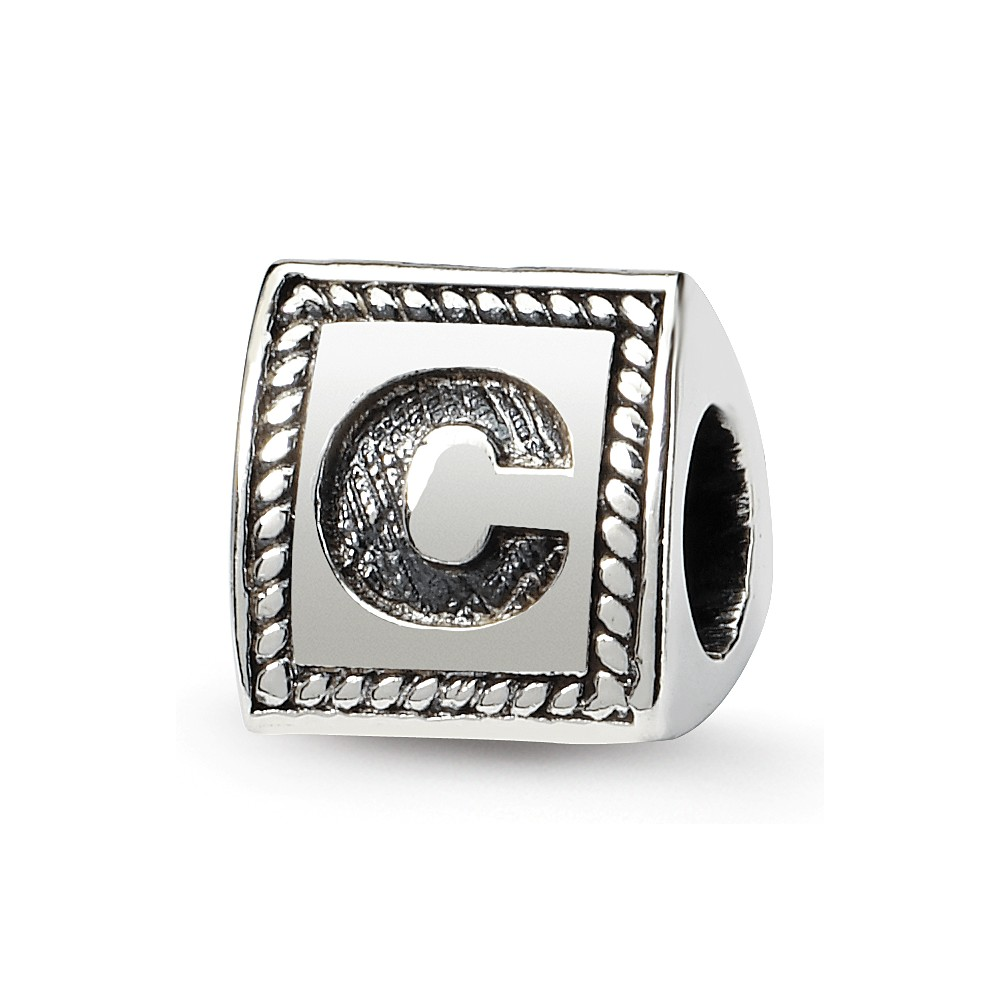Triangle Block, Letter C Sterling Silver Bead Charm