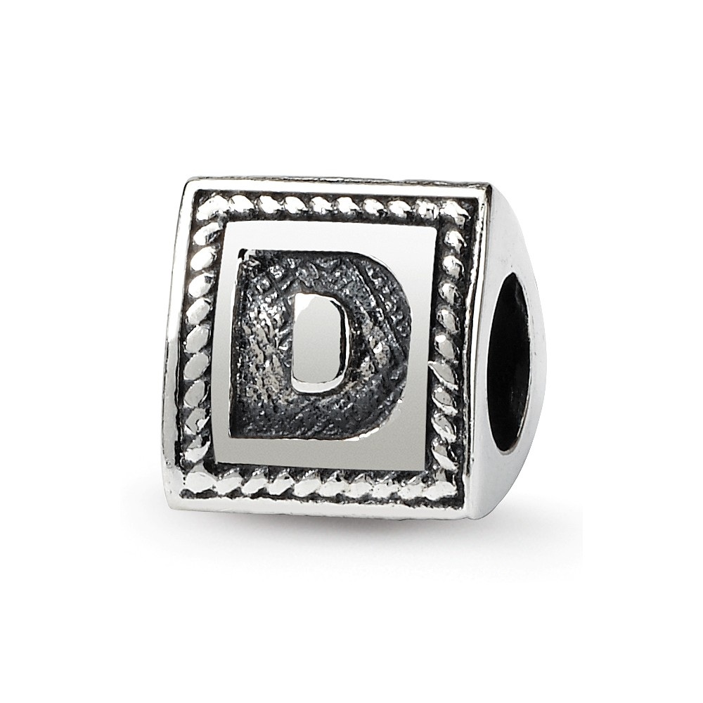 Triangle Block, Letter D Sterling Silver Bead Charm