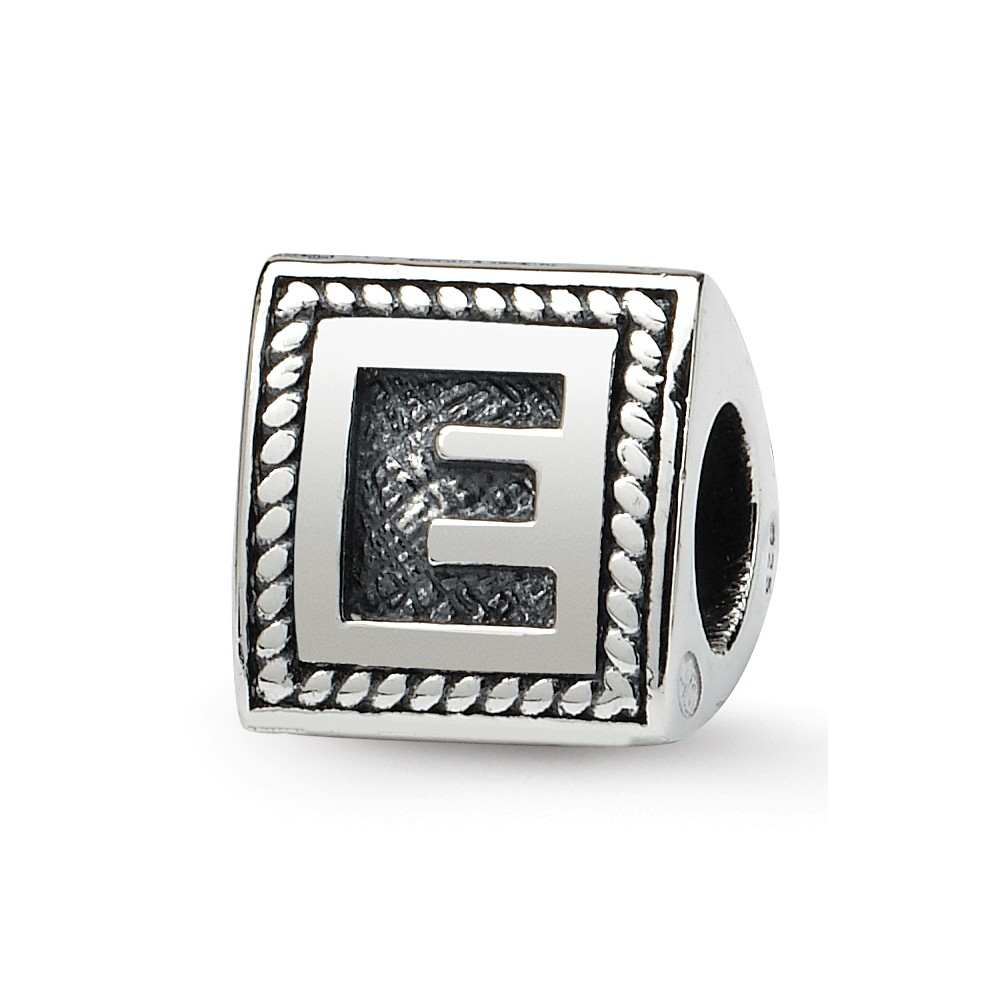 Triangle Block, Letter E Sterling Silver Bead Charm