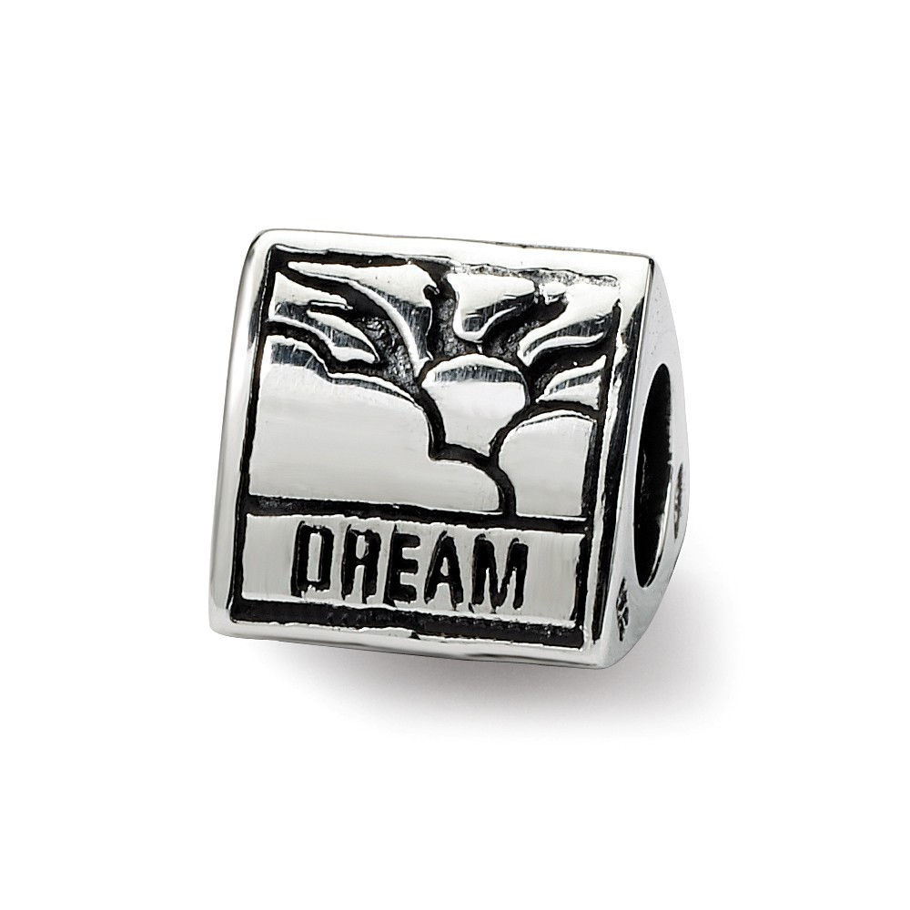 Dream, Believe and Succeed, Sterling Silver 3-Sided Charm