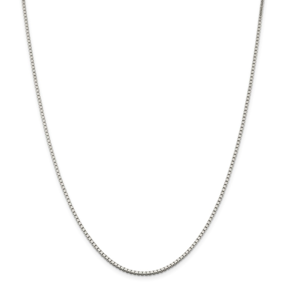 1.75mm Sterling Silver, Box Chain Necklace, 24 Inch