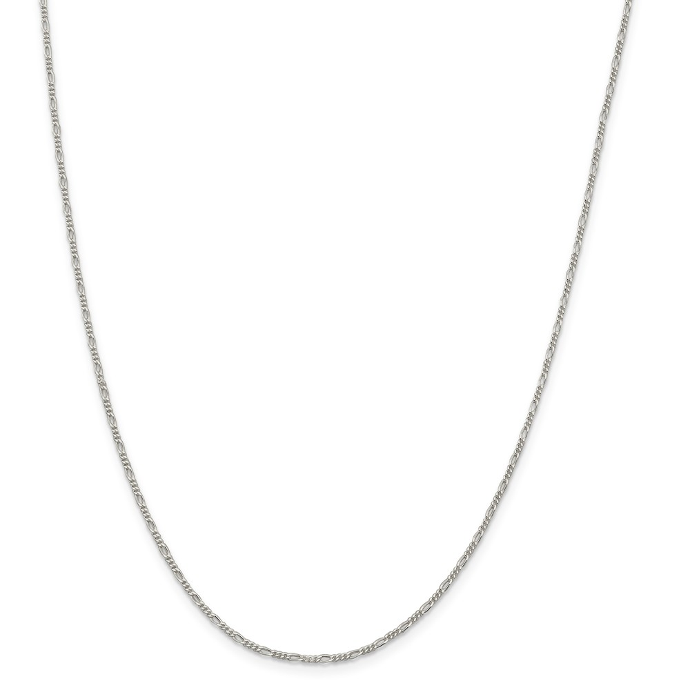 1.5mm Sterling Silver, Solid Figaro Chain Necklace, 20 Inch