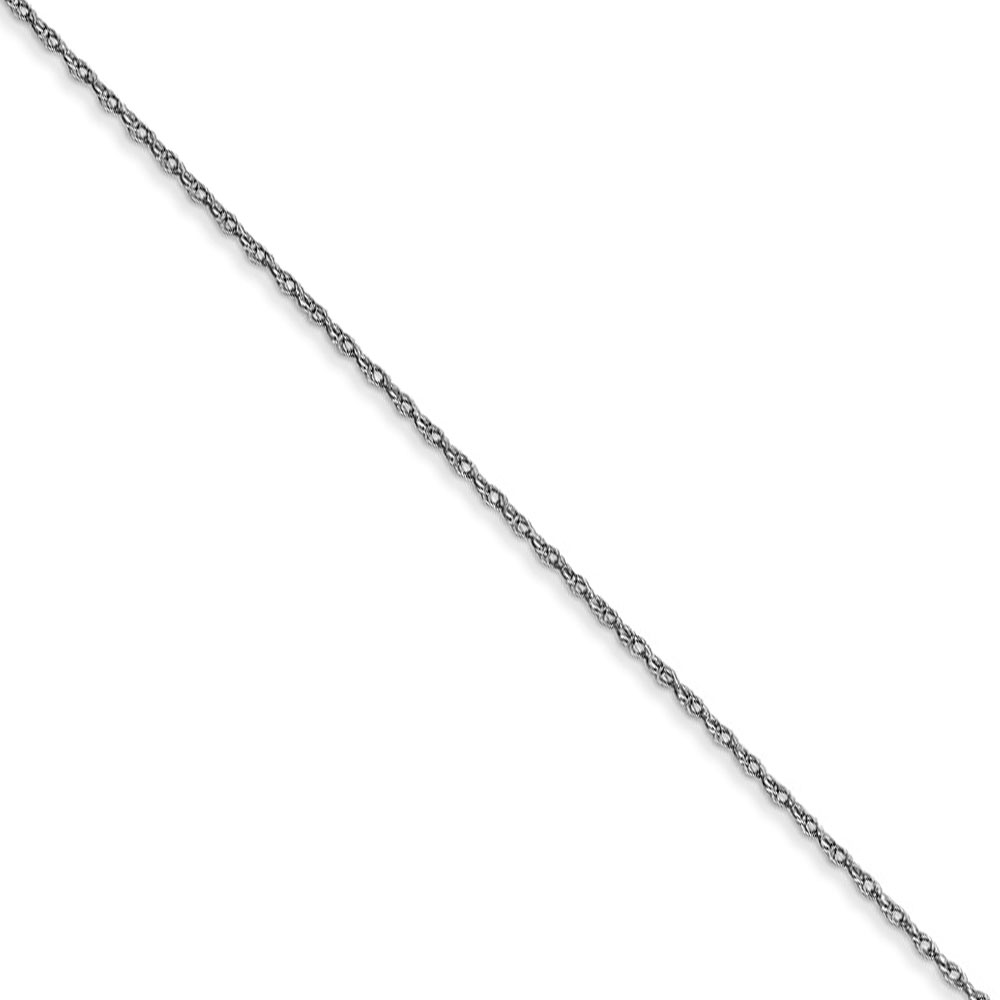 0.5mm, 14k White Gold, Cable Rope Chain Necklace, 20 Inch