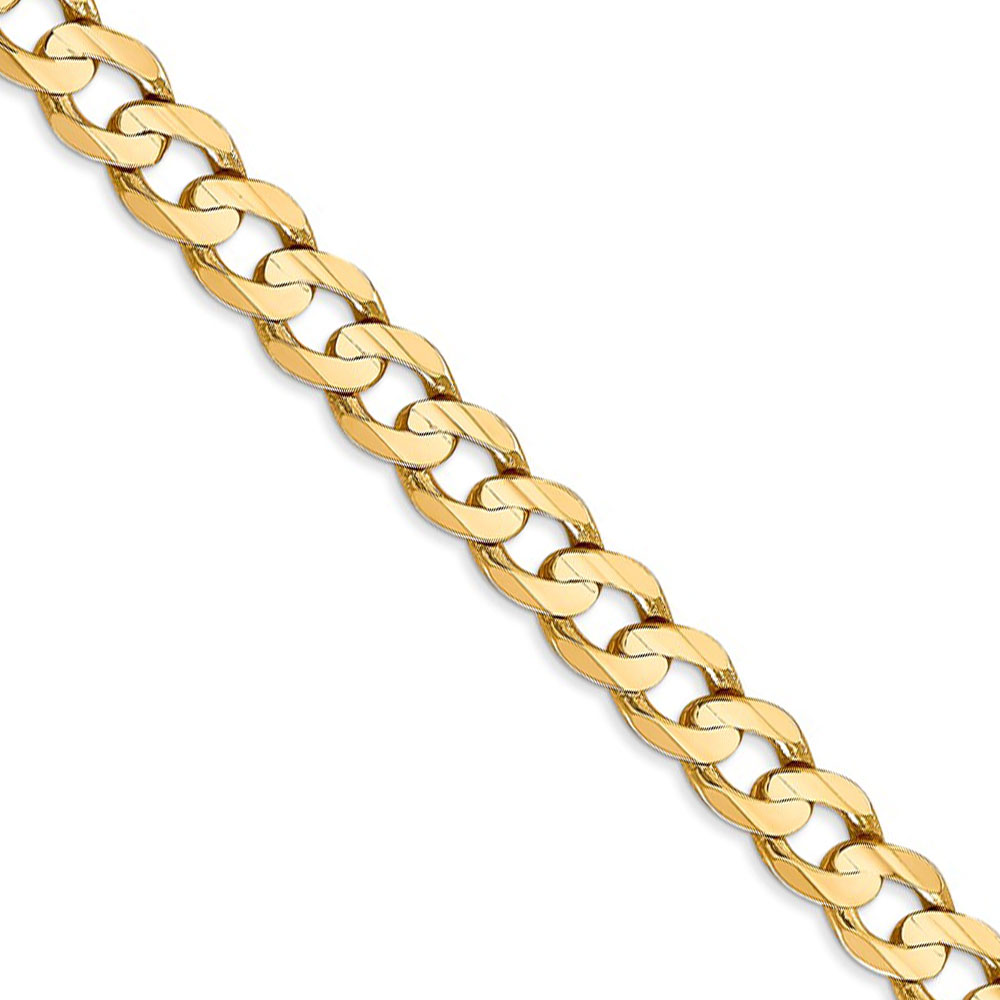 Men's 6.75mm 14k Yellow Gold Open Concave Curb Chain Necklace, 24 Inch
