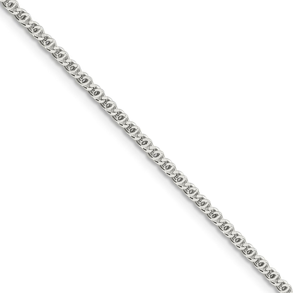 2mm, Sterling Silver Fancy Solid Anchor Chain Anklet, 10 Inch