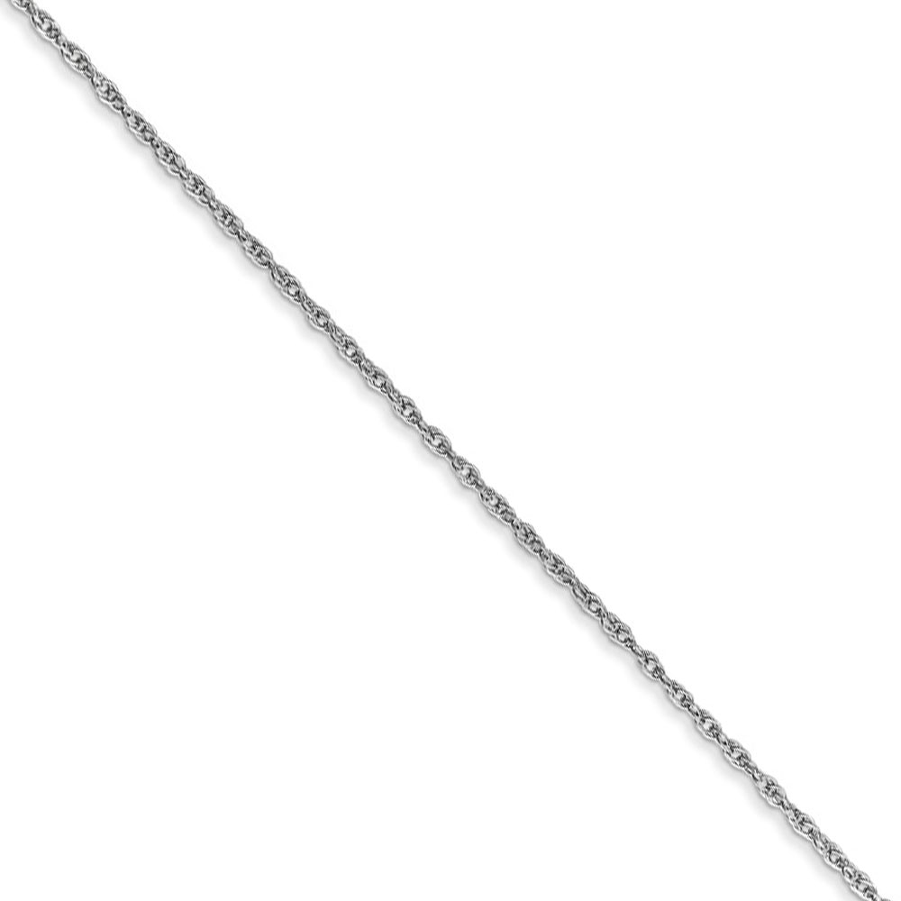0.8mm, 10k White Gold, Baby Rope Chain Necklace, 16 Inch