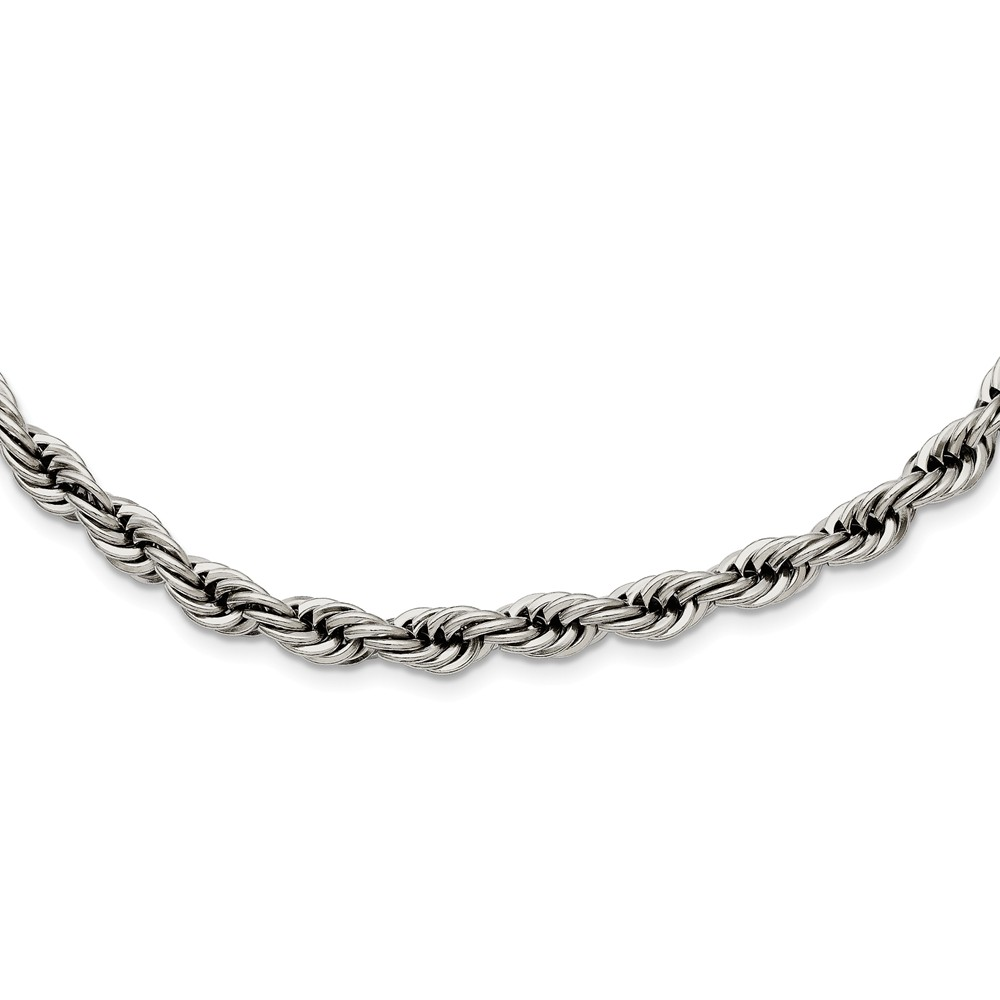 Men's 6mm Stainless Steel Polished Rope Chain Necklace, 22 Inch