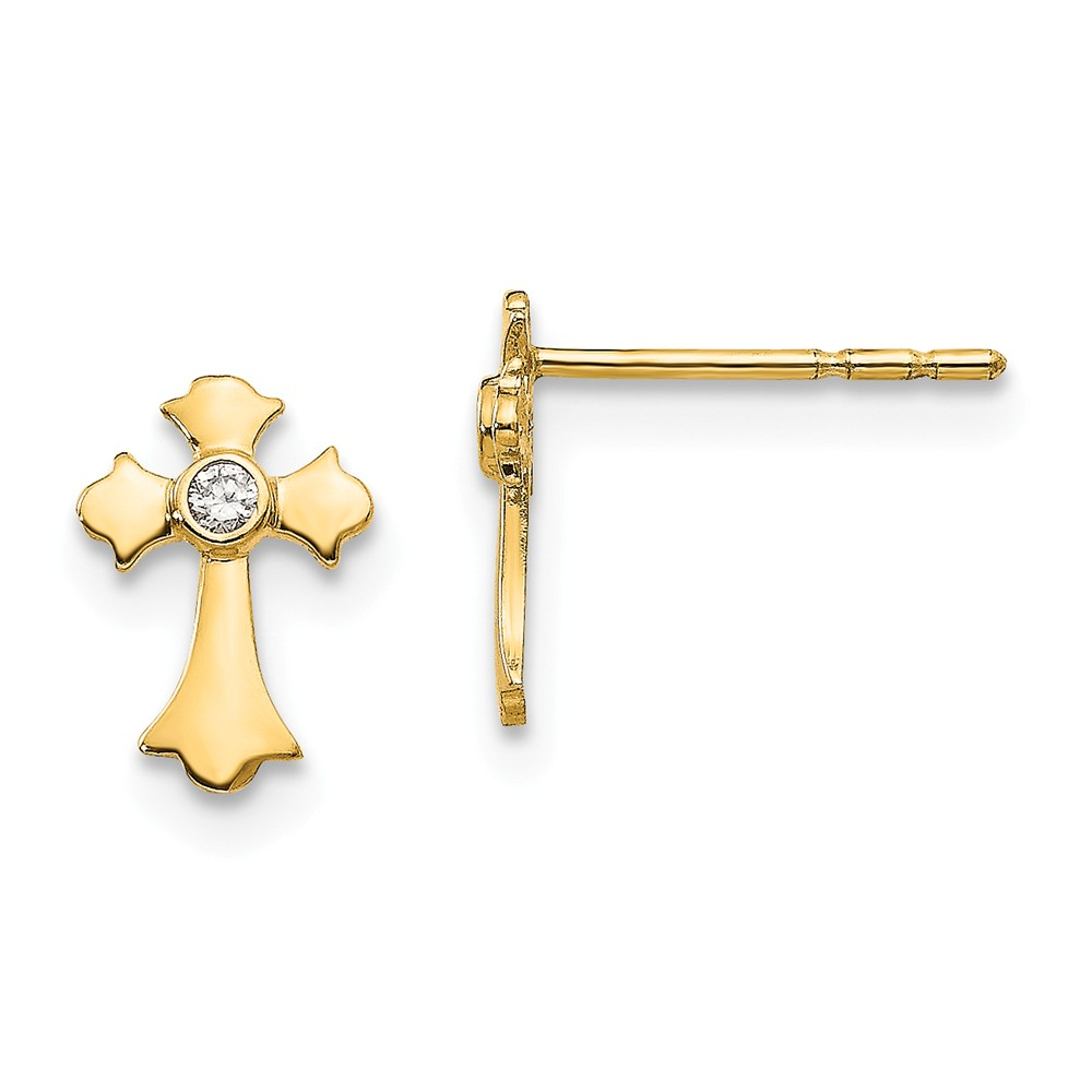 Earring   Yellow   Cross   Post   Gold