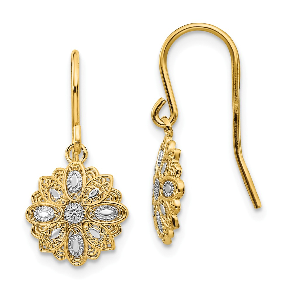 Rhodium   Earring   Dangle   Yellow   Floral   White   Gold