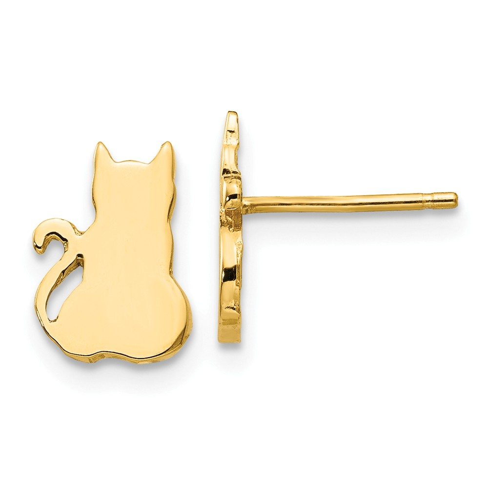 Silhouette | Earring | Polish | Yellow | Post | Gold | Cat