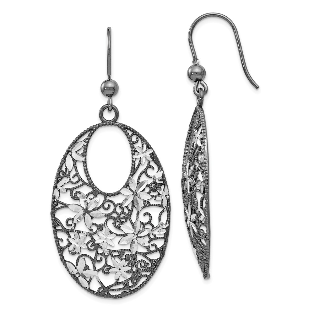 Two-Tone | Sterling | Earring | Dangle | Silver | Floral | Plate | Black | Oval
