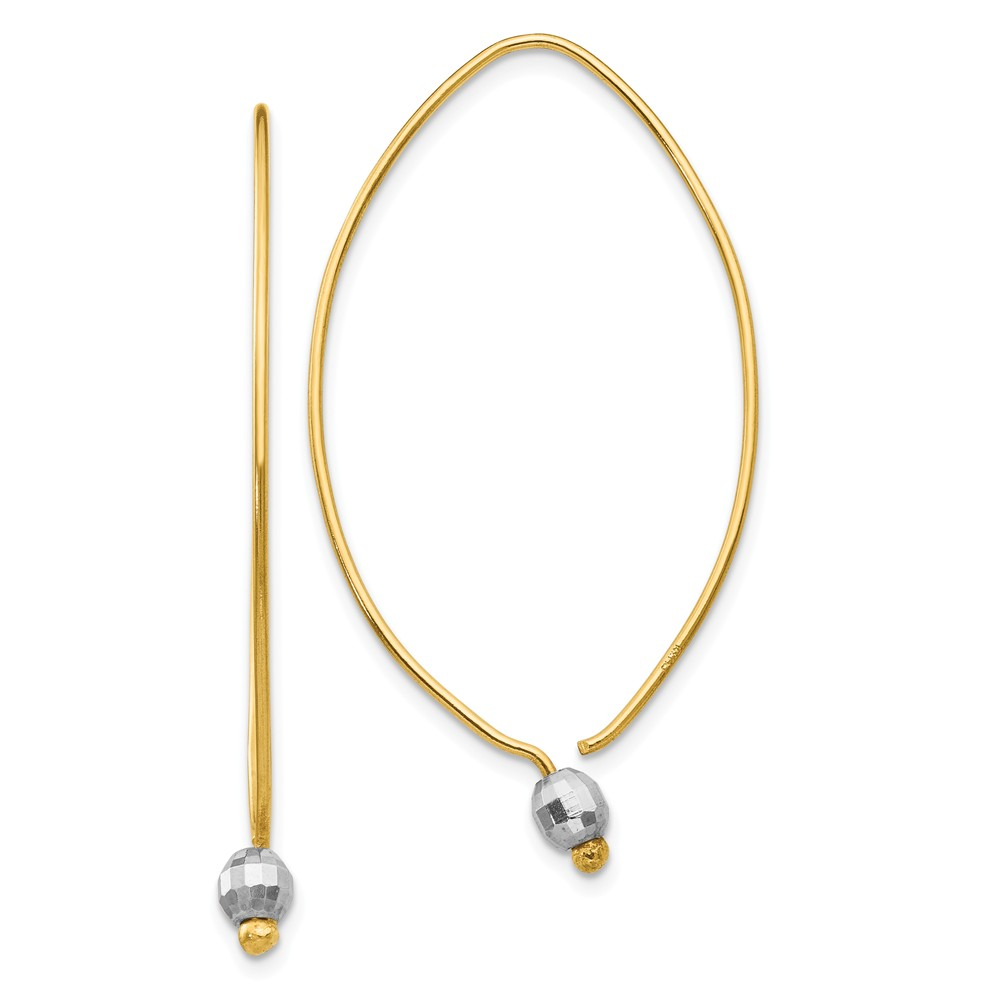 1 x 45mm 14k Two-Tone Gold Faceted Bead Accent Threader Earrings