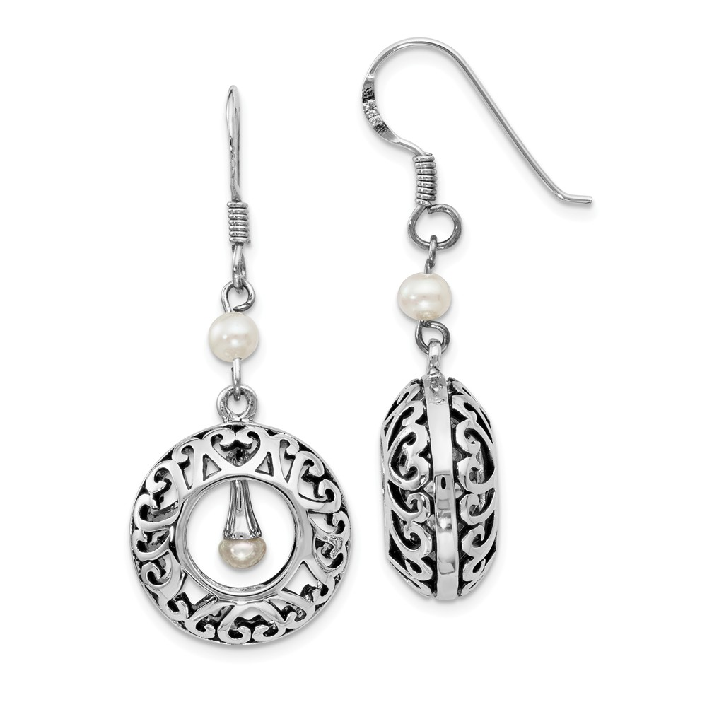 Sterling Silver & FW Cultured Pearls of Wisdom Dangle Earrings, 40mm