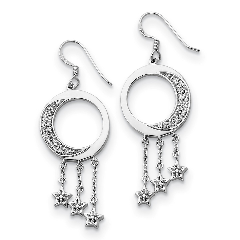 Rhodium Plated Sterling Silver & CZ Moon & Stars Dangle Earrings, 46mm