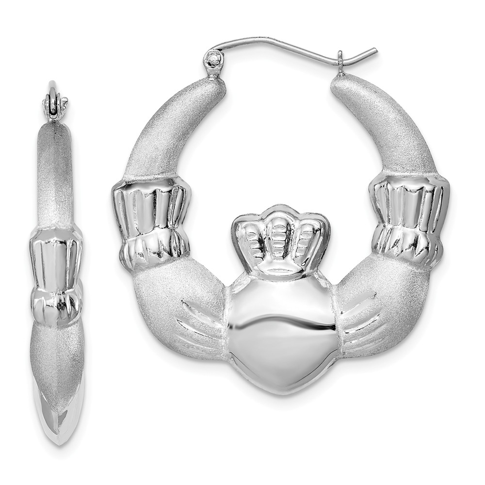 Sterling Silver Claddagh Hoop Earrings - 35mm in Diam. (1-3/8 in)