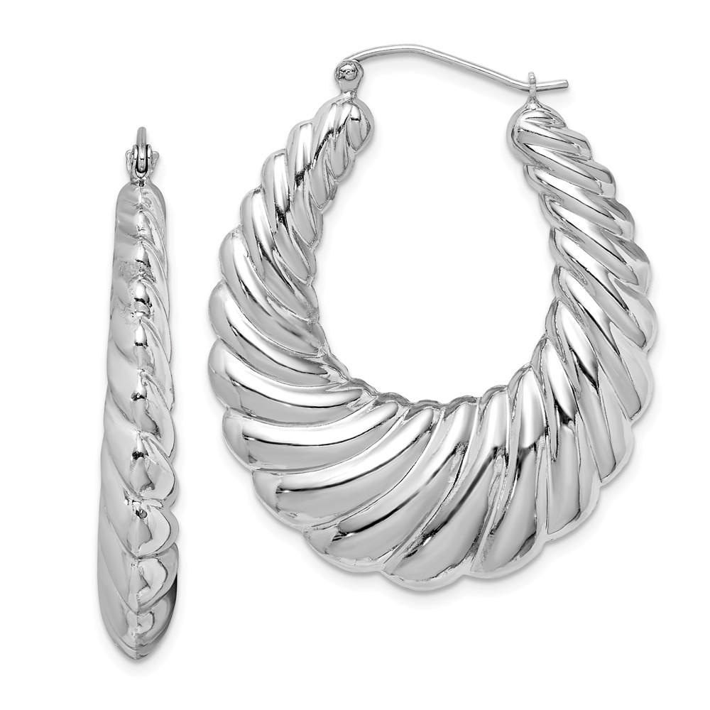 Sterling Silver Oval Shrimp Hoop Earrings - 40mm