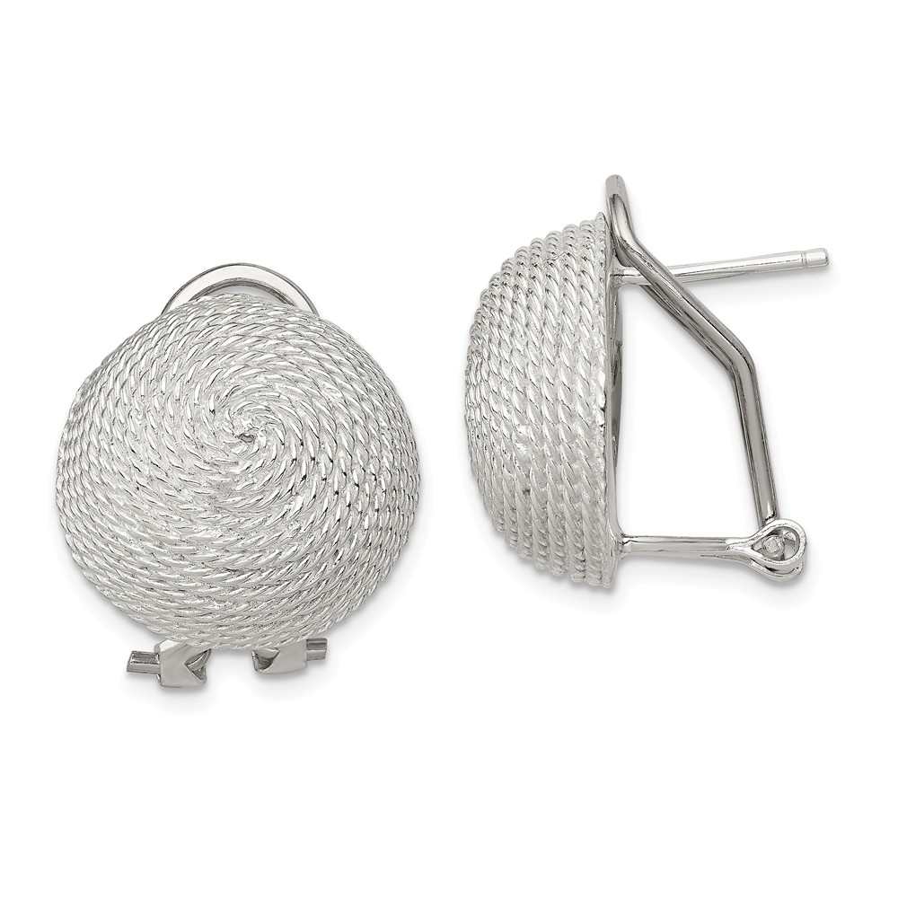 Sterling Silver Rope Button Earrings - 18mm