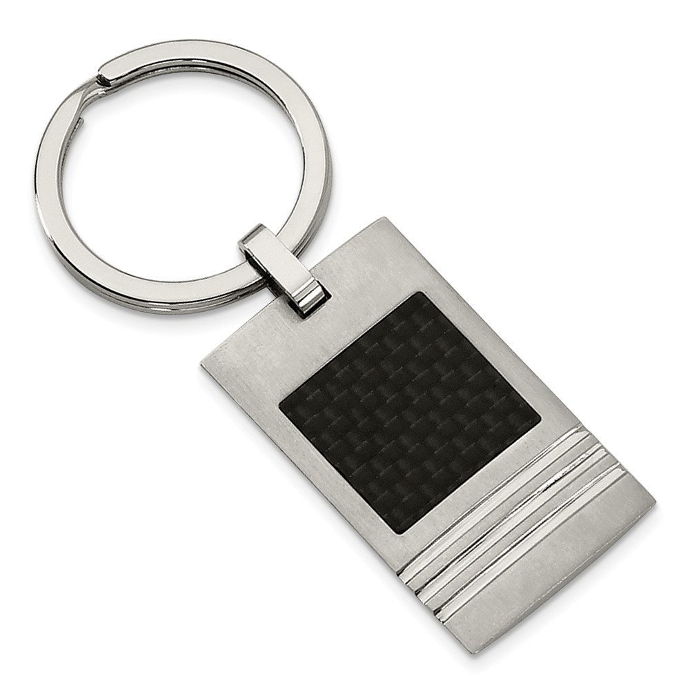 Men's Stainless Steel and Black Carbon Fiber Key Chain
