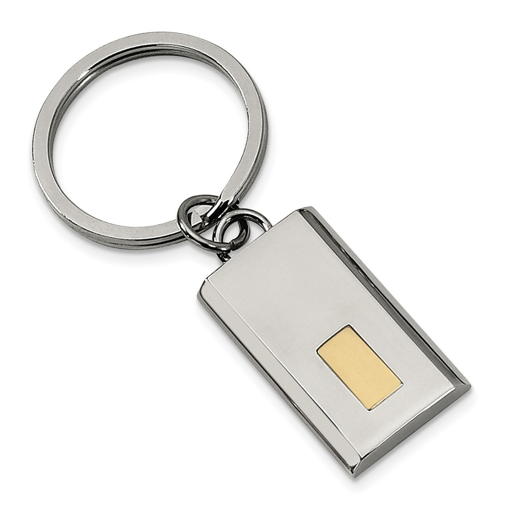 Men's Stainless Steel and 24k Gold Plated Accent Key Chain
