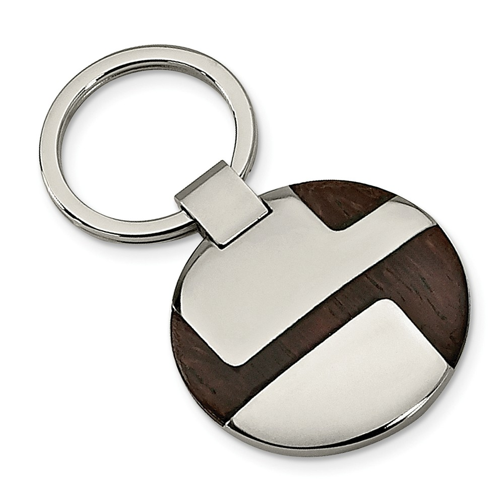Men's Stainless Steel and Wood Inlay Key Chain