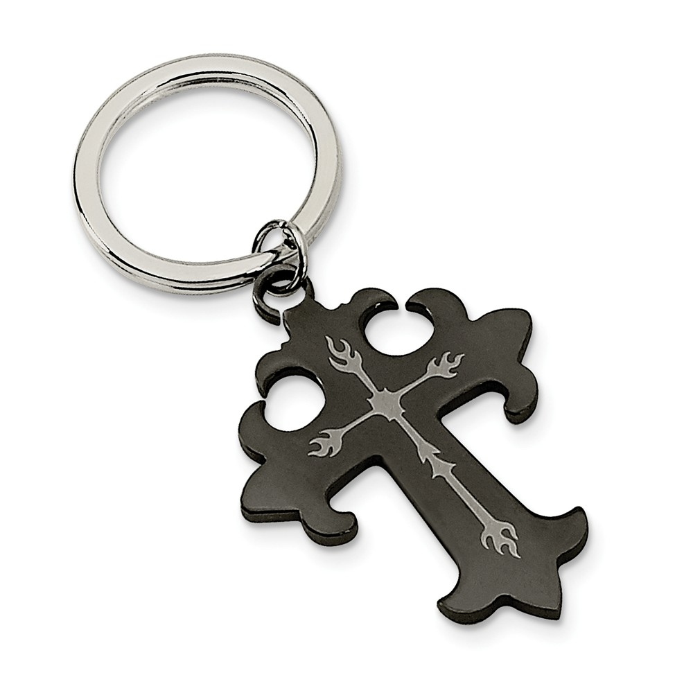 Men's Stainless Steel and Black Plated Cross Key Chain