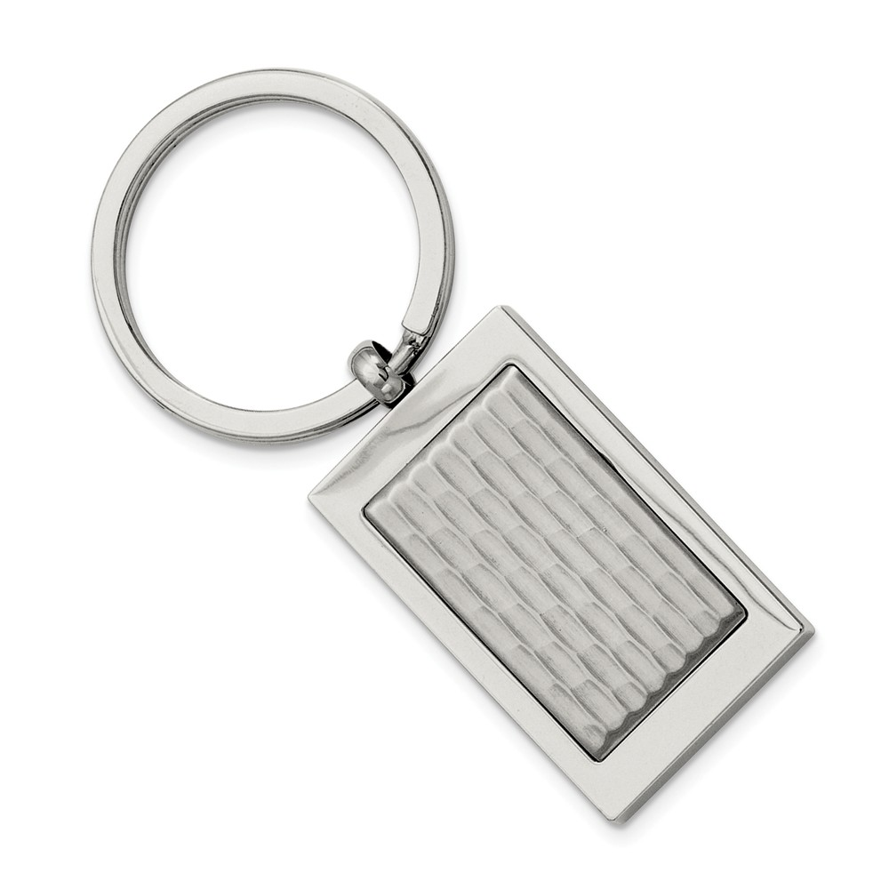 Polished and Textured Rectangular Stainless Steel Key Chain