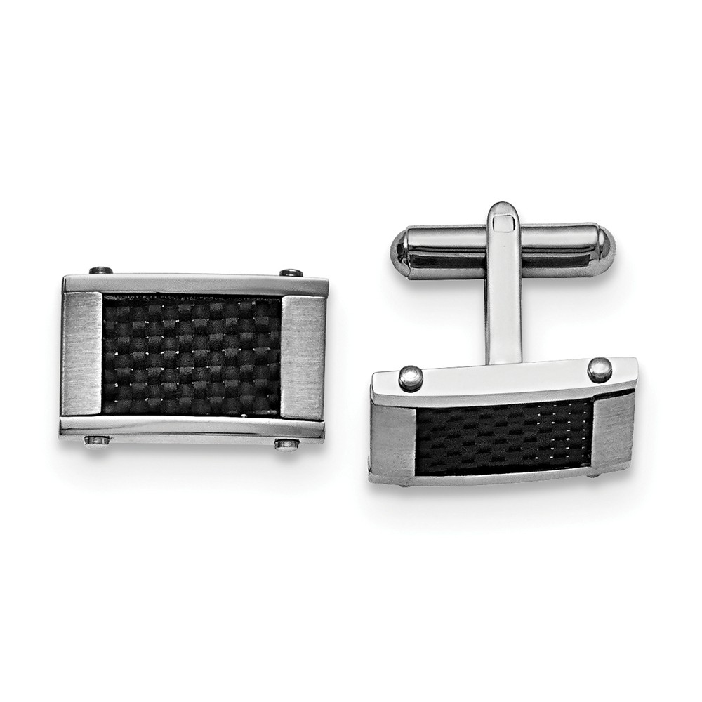 Men's Stainless Steel and Black Carbon Fiber Cuff Links, 11 x 18mm