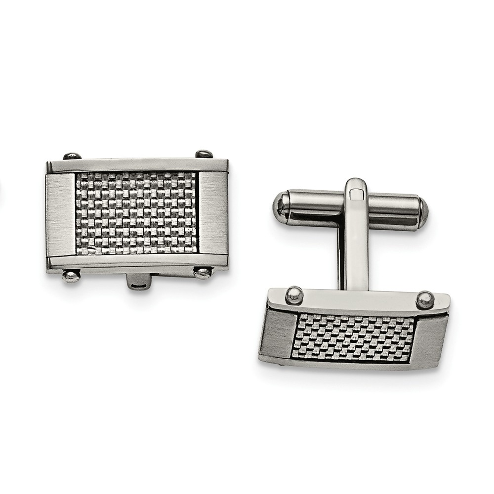 Men's Stainless Steel and Grey Carbon Fiber Cuff Links, 11 x 20mm