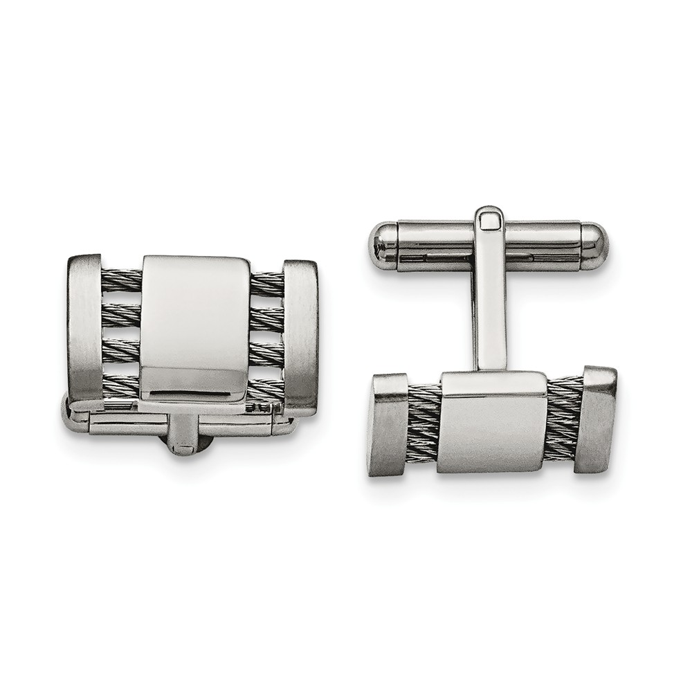 Men's Stainless Steel Brushed & Polished Cuff Links, 10 x 18mm