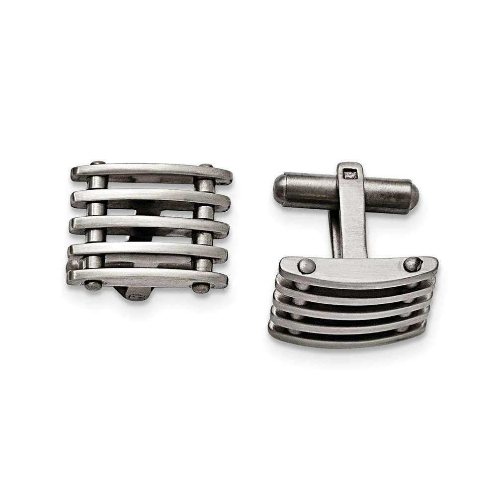 Men's Stainless Steel Grid Cuff Links, 13 x 19mm