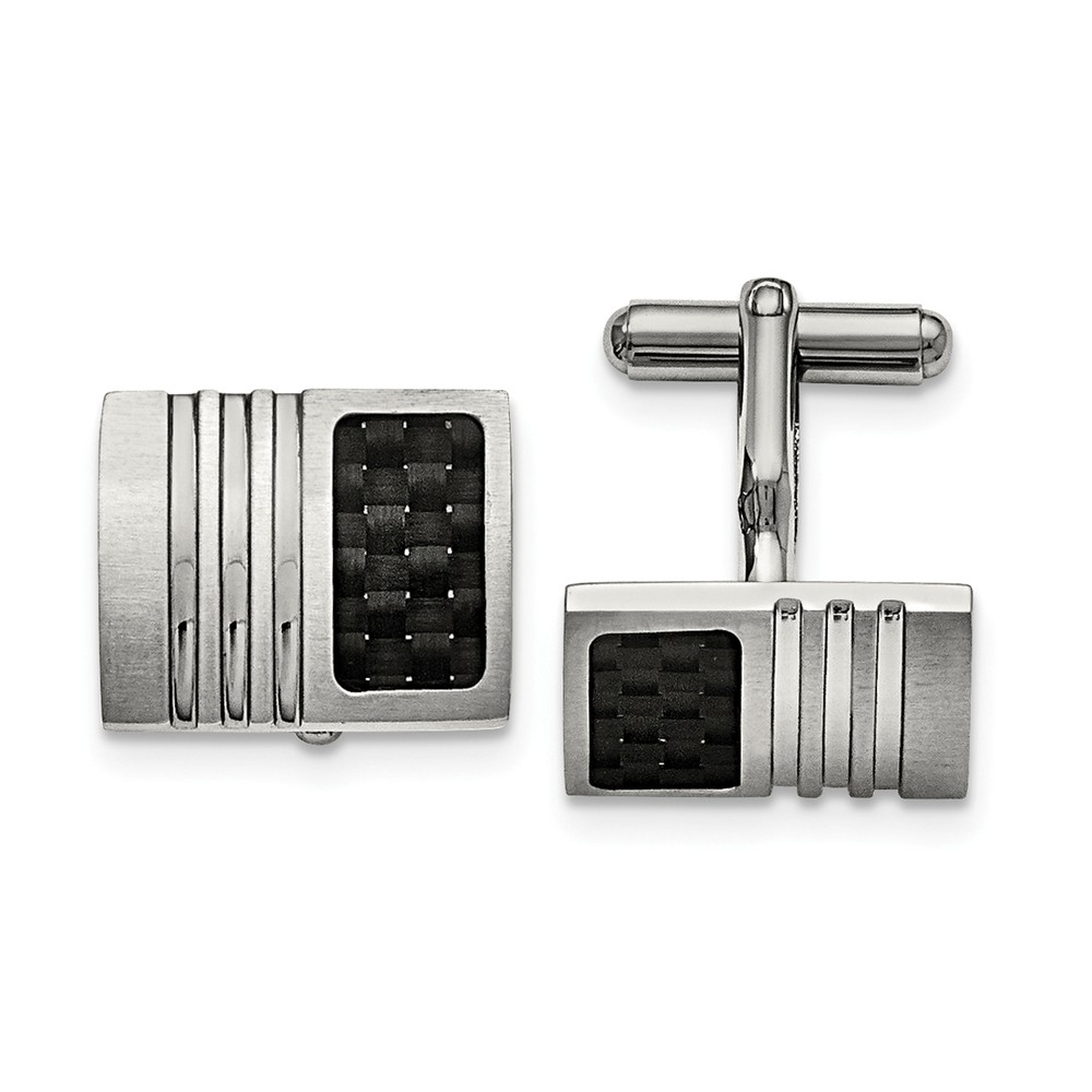 Men's Stainless Steel and Carbon Fiber Grooved Cuff Links, 17 x 20mm