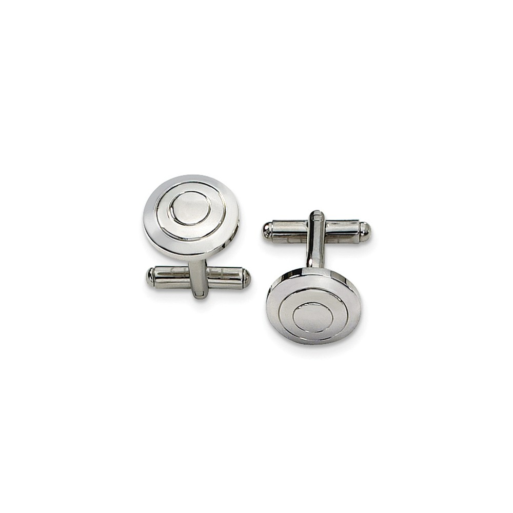 Men's Stainless Steel Circle Cuff Links, 15mm