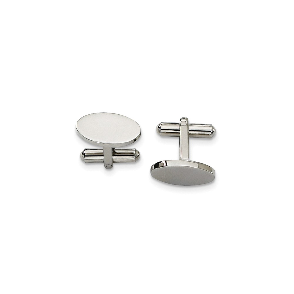 Men's Stainless Steel Polished Oval Cuff Links, 8 x 18mm