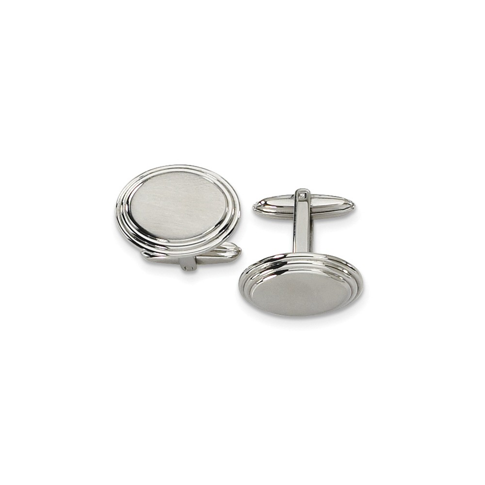 Men's Stainless Steel Brushed Oval Step Edge Cuff Links, 15 x 21mm