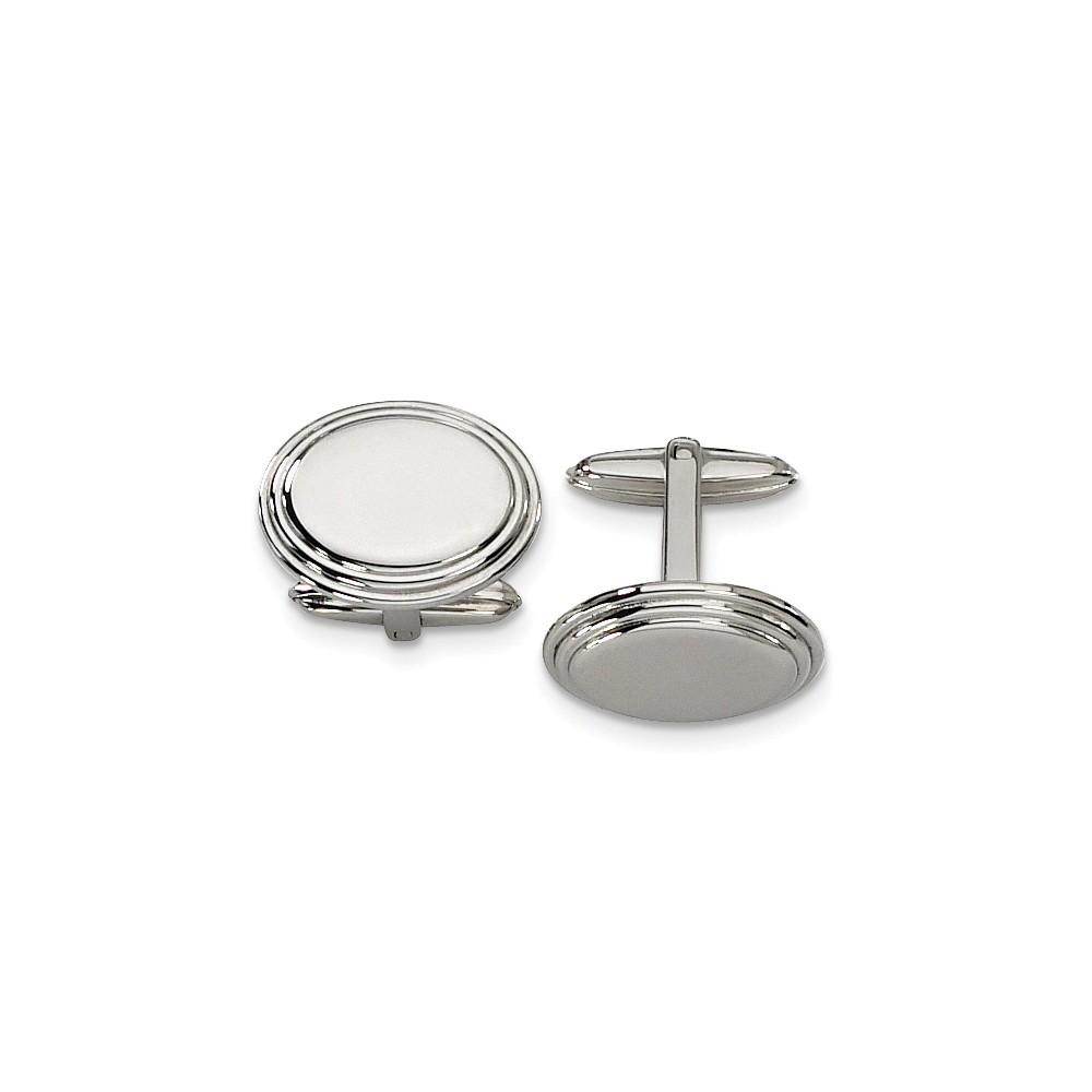 Men's Stainless Steel Polished Step Edge Cuff Links, 15 x 21mm