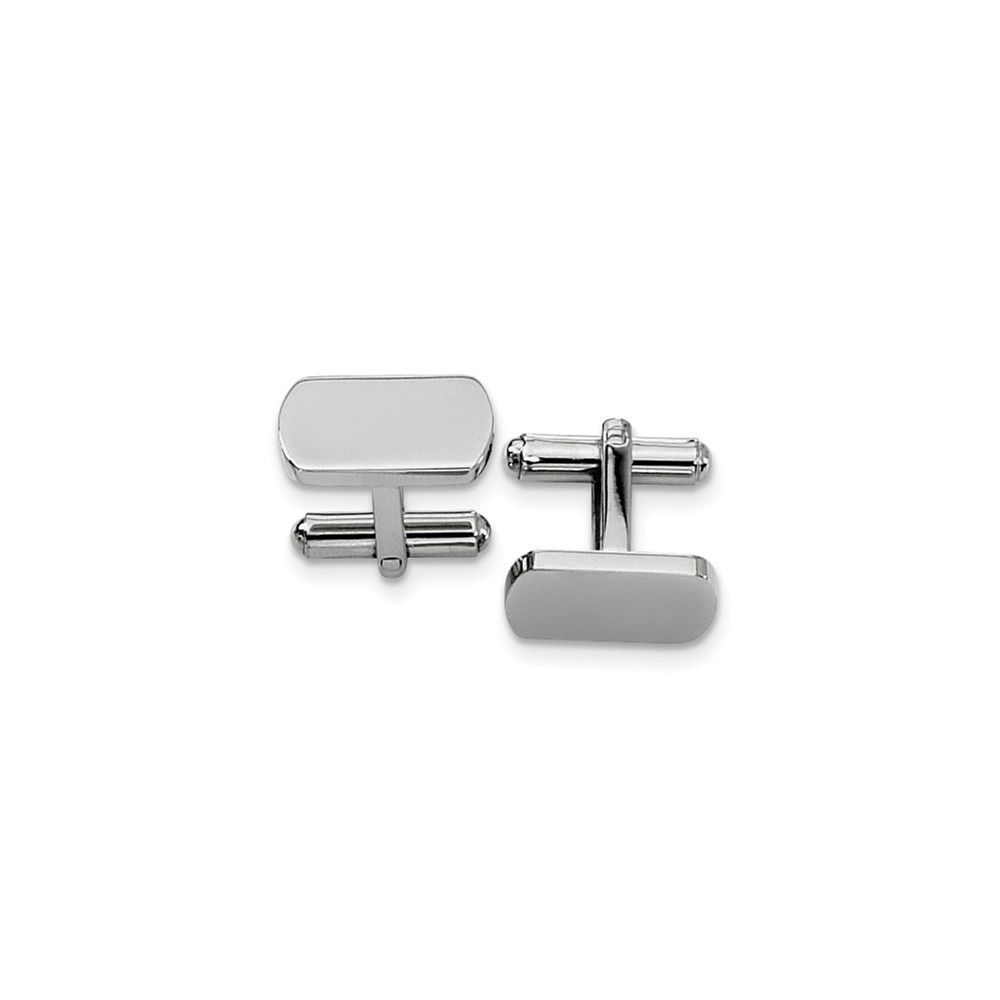 Men's Stainless Steel Polished Rectangular Cuff Links, 8 x 18mm