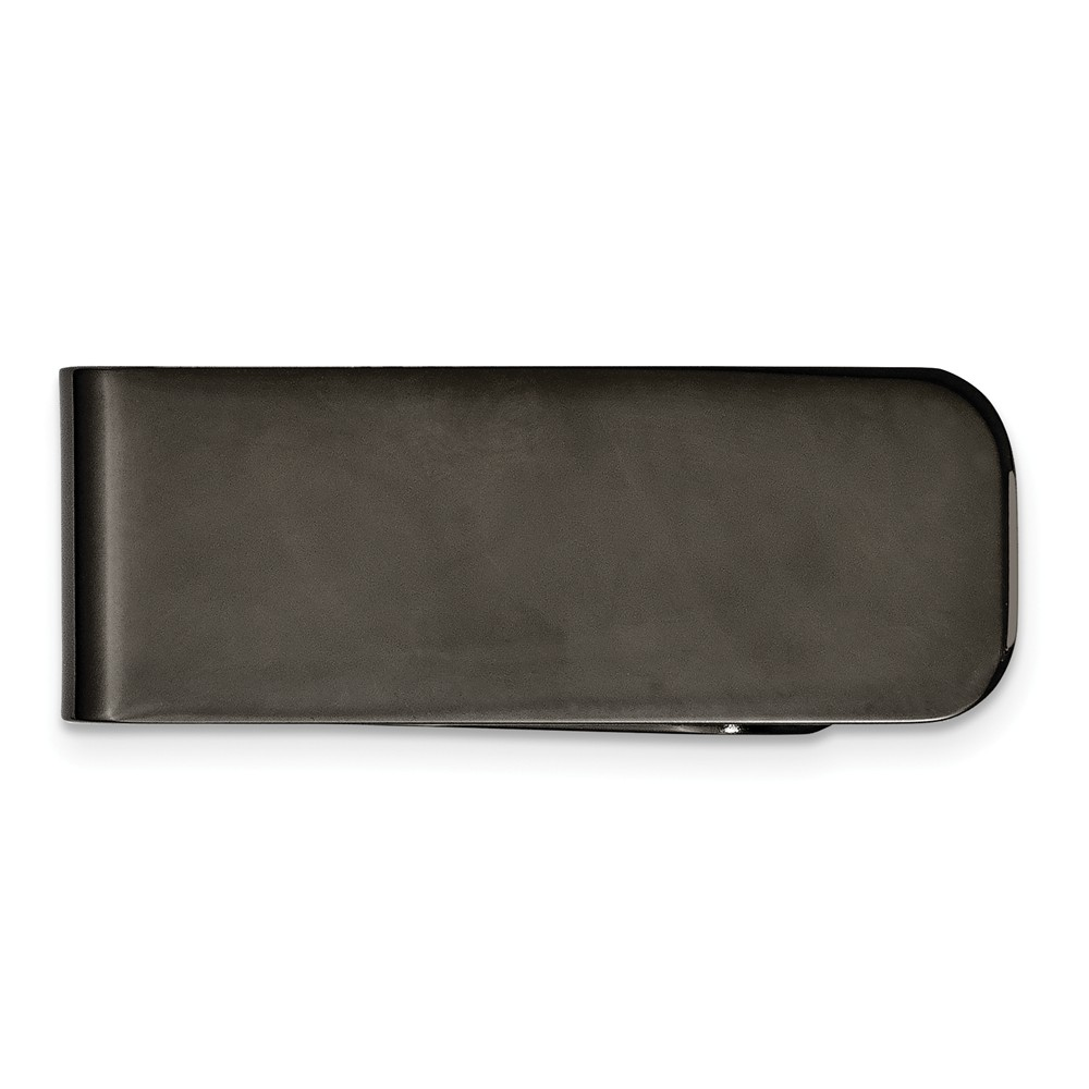 Men's Stainless Steel Polished Black-plated Money Clip