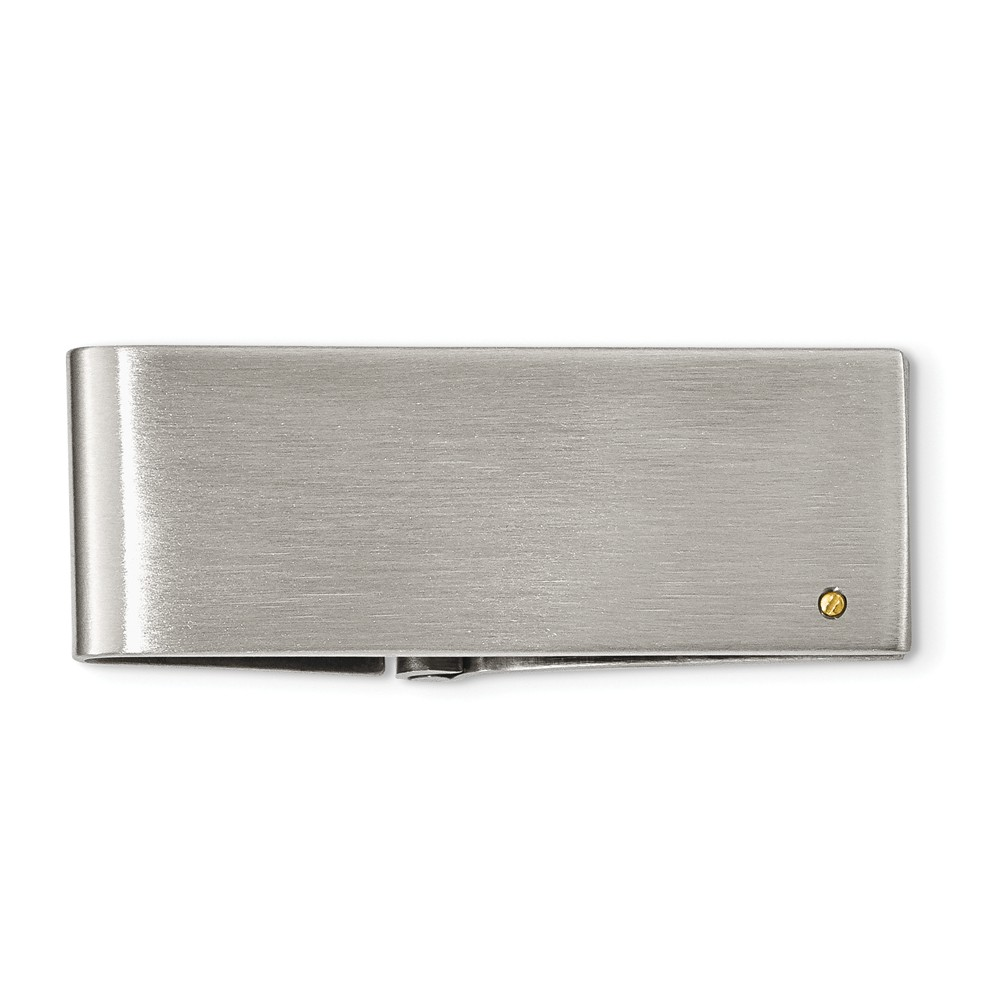 Brushed Stainless Steel and 14k Gold Plated Accent Hinged Money Clip