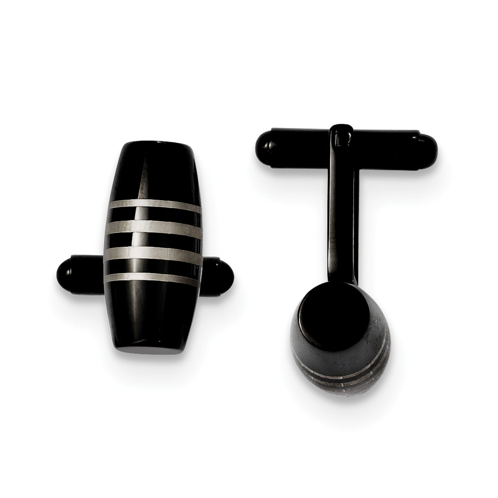 Men's 22mm Black Plated Stainless Steel Cylindrical Cuff Links