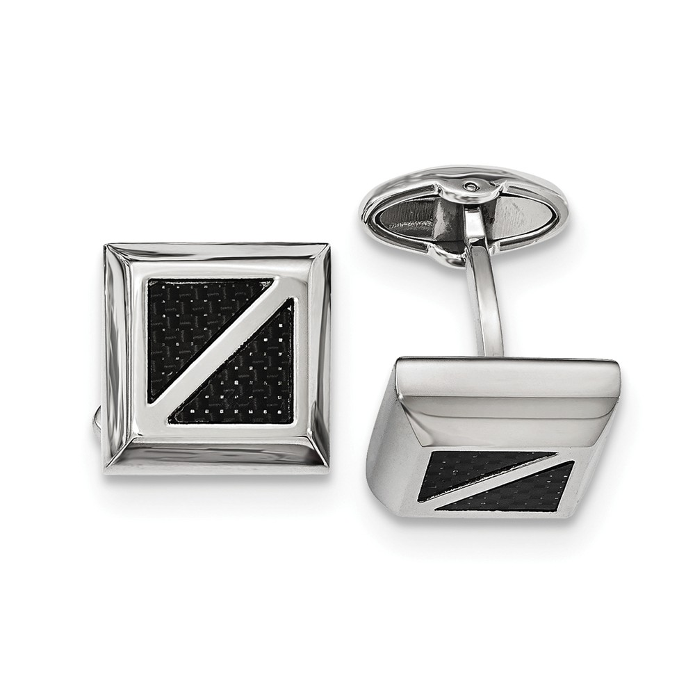 Men's 18mm Square Black Carbon Fiber and Stainless Steel Cuff Links
