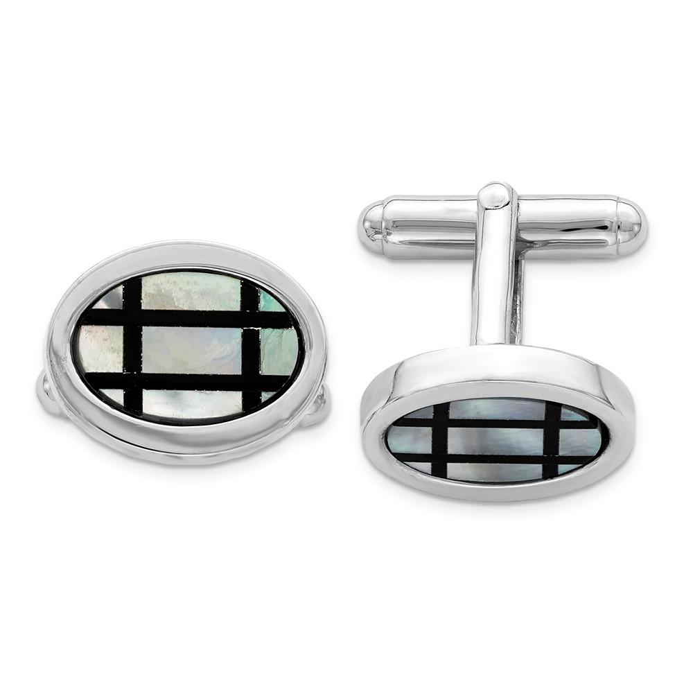 Men's Sterling Silver, Mother of Pearl & Black Enamel Oval Cuff Links