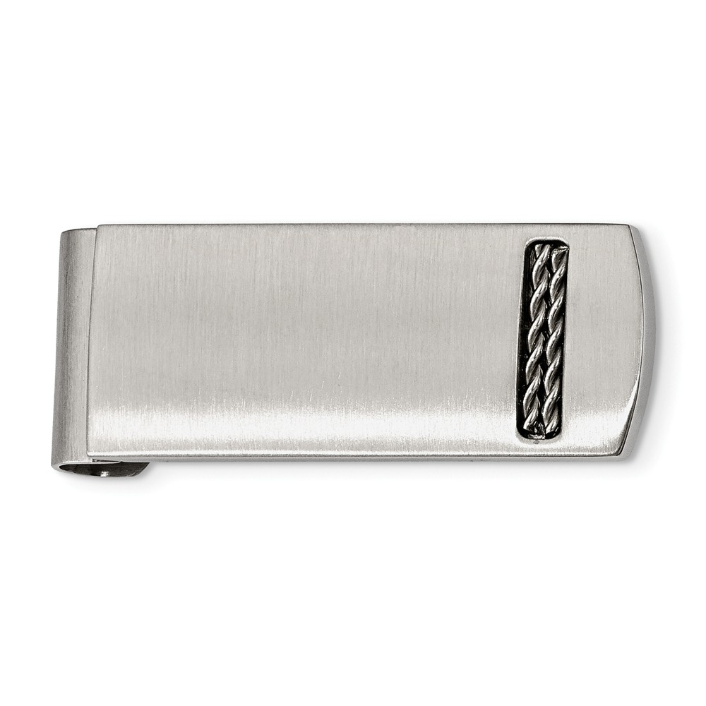 Chain Accent Brushed Stainless Steel Spring Loaded Money Clip
